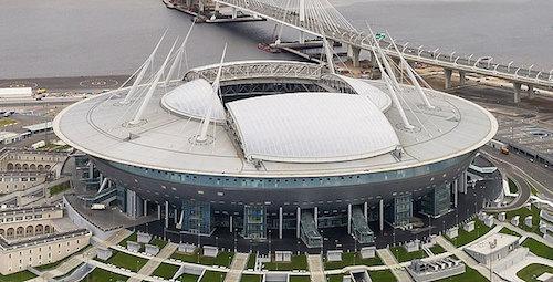 O Estádio Krestovsky em São Petersburgo é o palco da Euro 2021