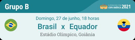 Prognóstico Brasil x Equador na Copa América 2021 com dicas Grupo B