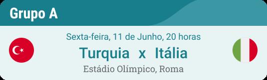 Turquia x Itália em 11.6. na Eurocopa 2021 Grupo A